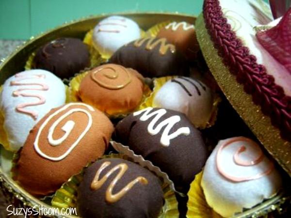 box of chocolates pin cushion