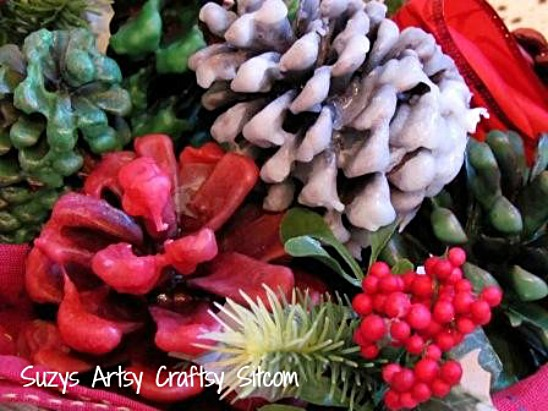 wax covered pine cone gift baskets