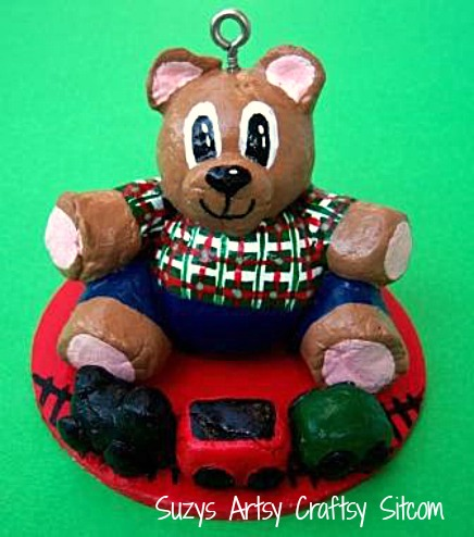 diy bread dough christmas bear ornament14