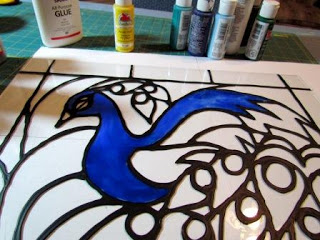 faux stained glass made from acrylic paint and glue