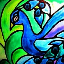 faux stained glass peacock / suzys artsy craftsy sitcom