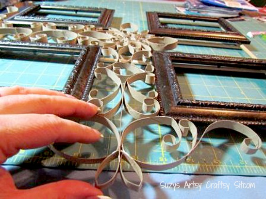 faux filigree frame made from toilet paper tubes