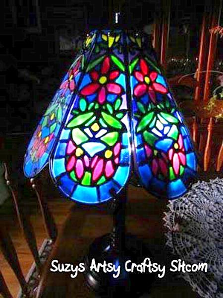 diy faux tiffany lamp thrift store revamp