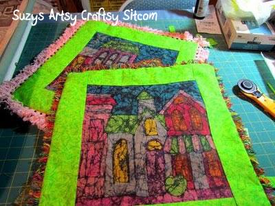 making batik fabric with crayons