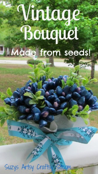 blue vintage bouquet made from seeds