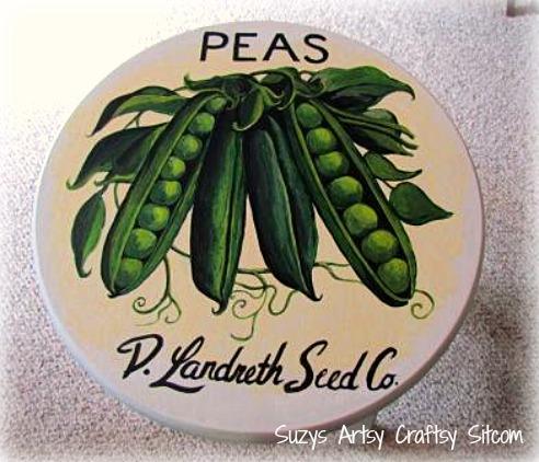 vintage seed packet art stools