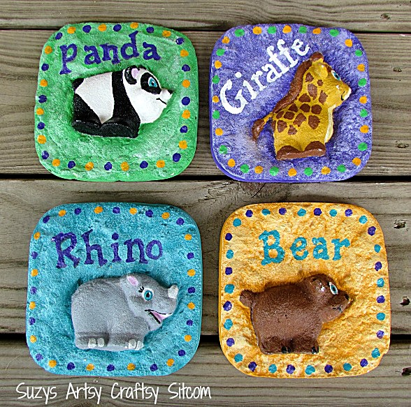 plaster casting with sand animals for nursery