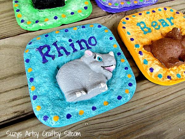 plaster casting with sand nursery animals