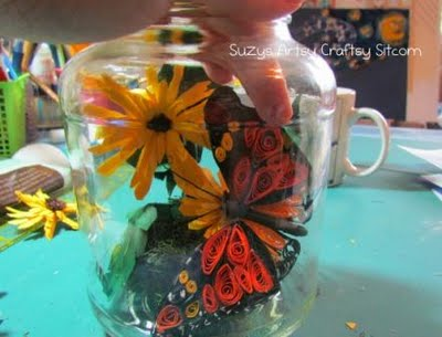 quilled butterfly in jar paper craft