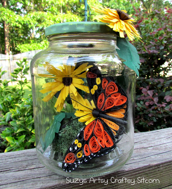 quilled butterfly in a jar
