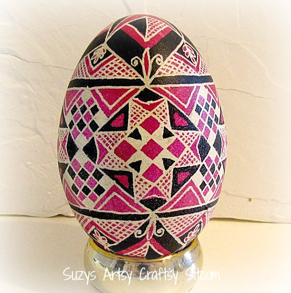 pink and black ukrainian egg