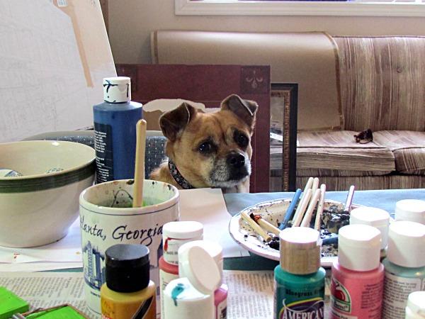 dog watching crafting