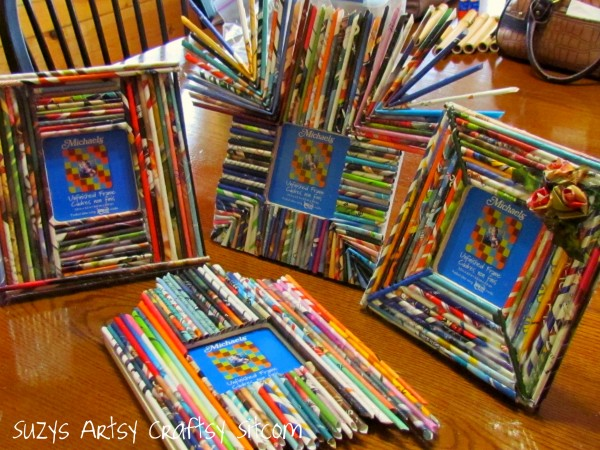 craft paper reed frames from recycled magazines