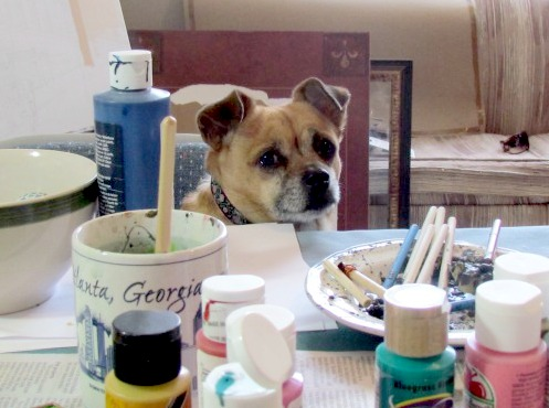 faith dog watching me craft