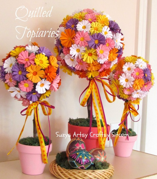 quilled cardstock flower topiaries tutorial