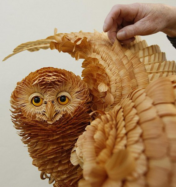 Sergei Bobkov wood chip sculptures