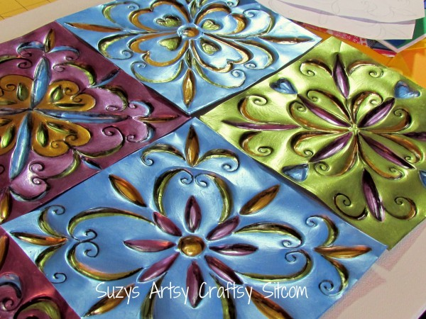 recycled craft embossed tiles from cookie sheets 2