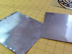 faux tin tiles made from aluminum cookie sheets