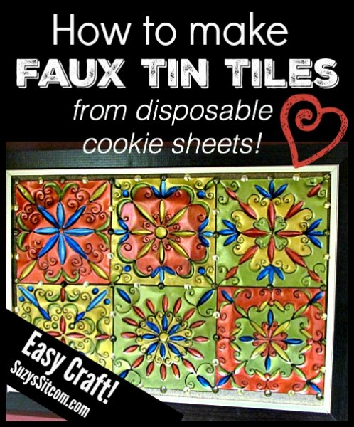 how to make faux tin tiles from cookie sheets