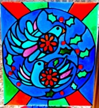 two turtle doves pattern and faux stained glass kit