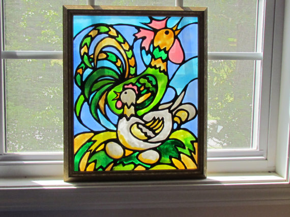 chicken run faux stained glass kit
