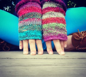 Wild Bliss Knitted Mitts by Dina Rosbeck