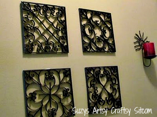 Faux Metal Wall Art/Suzys Artsy Craftsy Sitcom #toilet paper tubes #diy #recycled art #wall art