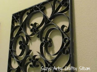 Faux Metal Wall Art/Suzys Artsy Craftsy Sitcom #recycle #wall art #crafts #diy