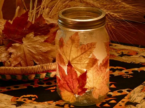 Fall Leaves Candle Holder #fall crafts #leaves