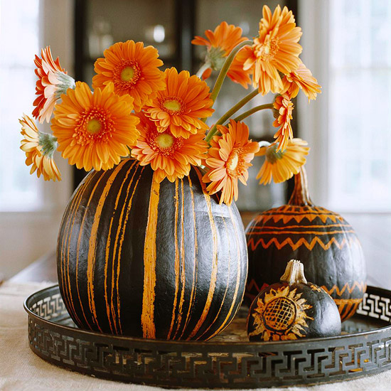 Painted Pumpkin Centerpiece #pumpkins #paint #diy from Cafe Mom