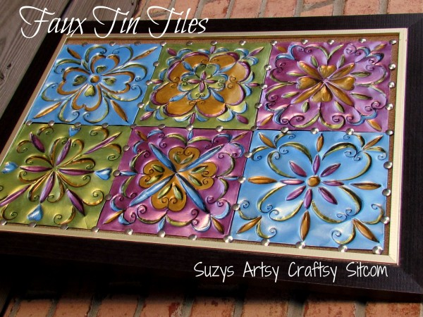 Faux Tin Tiles/Suzys Artsy Craftsy Sitcom #recycle