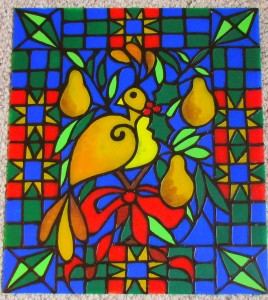 Partridge & Pear Faux Stained Glass/Suzy's Artsy Craftsy Sitcom #pattern #Christmas