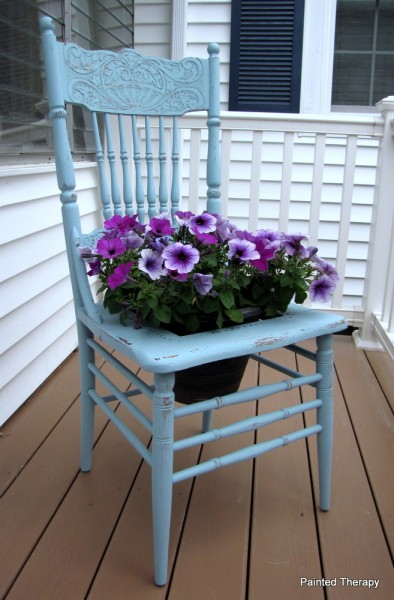 Refurbished chair planter/Painted Therapy #recycle #furniture