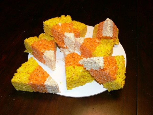 candy-corn-rice-crispy-treats from The Distracted Crab #Halloween #recipe