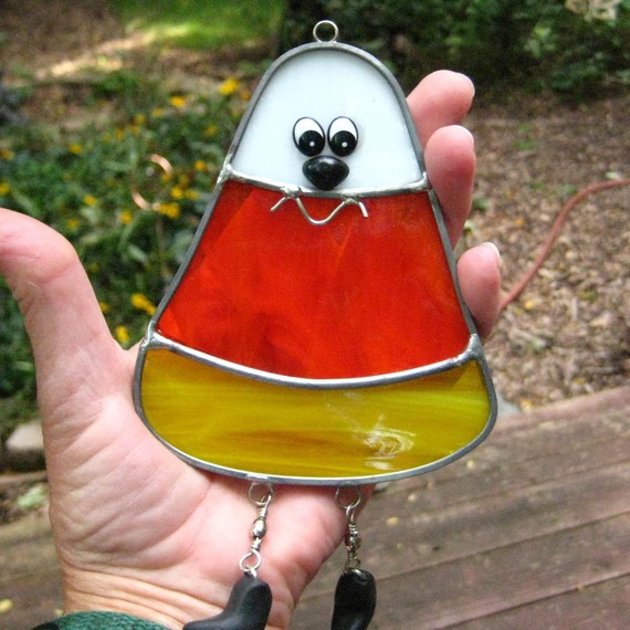 Candy Corn Stained Glass Suncatcher #Halloween #Stained Glass