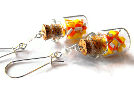 Candy Corn Bottle Earrings #polymer clay #jewelry #Halloween