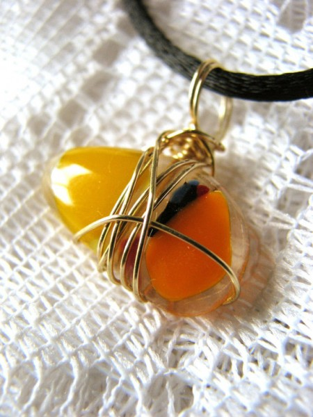 Wire Wrapped Fused Glass Candy Corn Pendant #Halloween #Jewelry #fused glass