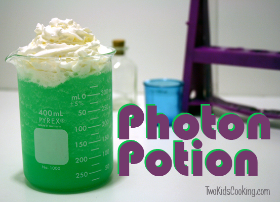 Two Kids Cooking Photon Potion featured at Suzys Artsy Craftsy Sitcom #recipes #kids Crafts