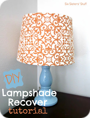 DIY Lampshade Recover Tutorial by Six Sisters Stuff