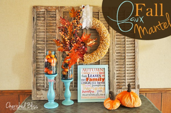 Faux-Fall-Mantel by Cherished Bliss #Fall #diy #holiday