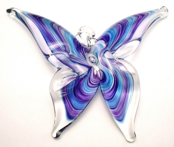 Purple and Aqua Butterfly Suncatcher by Sterling Glass Works