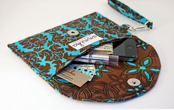 Wristlet in Turquoise and Brown- Annika in Chautauqua