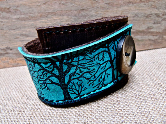 Tree Silhouette Print Turquoise and Brown Leather Cuff- Hollyhawk Designs