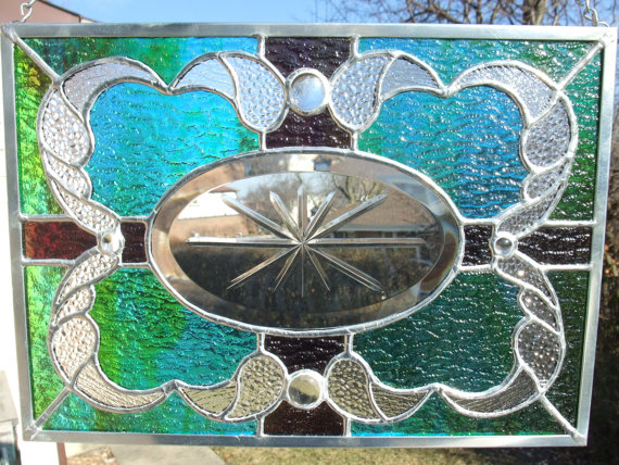 Purple and Aqua Stained Glass Panel by Good Grief Glass #etsy