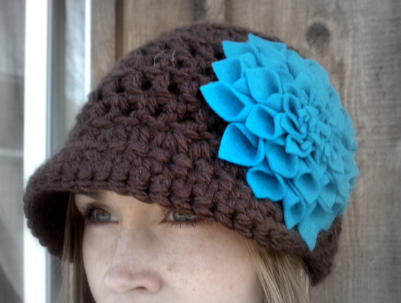 Brown and Turquoise Pageboy Crocheted Hat by Love Designs Boutique
