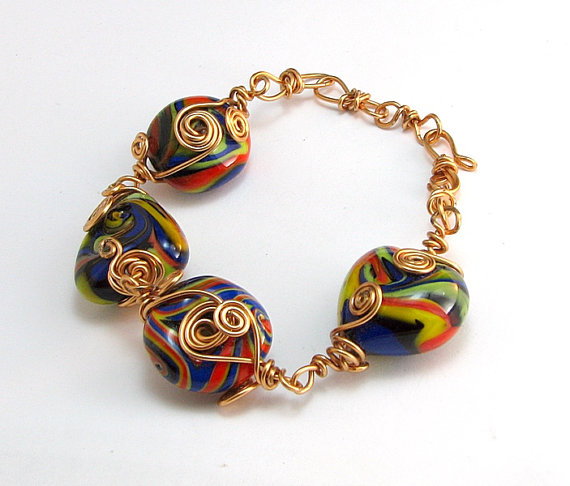 Lampwork multi colored beads by To Be Unique Jewelry's