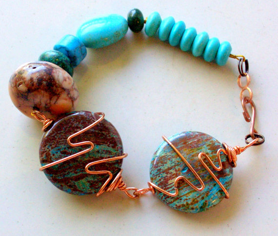 Brown and Turquoise Copper Wire Wrapped Bracelet- Stone and Bone