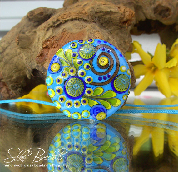 Sun and Blue Sky Bead by Calypso's Beads #jewelry #lampwork