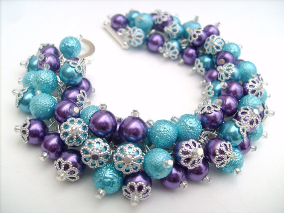 Purple and Aqua Pearl Bracelet by Kim Smith #etsy #jewelry