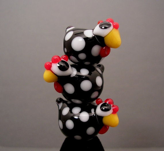 Chicken Lampwork Beads by 2 Cool Beads #jewelry #beads